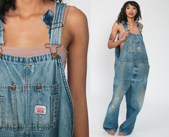 Distressed Jean Overalls 90s Denim GRUNGE Pants Lee Baggy 1990s Dungarees Bib Round House Boyfriend Vintage Carpenter Extra Large xl xxl