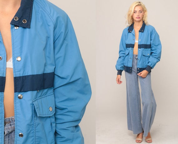 Bomber Jacket 70s Jacket Nylon Windbreaker Baby Blue Striped Jacket Vintage 80s Hipster Moto Sports Preppy Medium