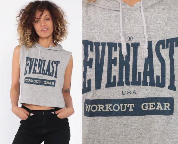 90s Everlast Shirt Hoodie T Shirt Gym Shirt Hooded Top Sleeveless Workout Crop Top Streetwear Retro T Shirt Vintage Grey Small