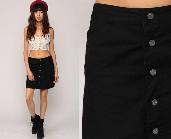 Black Mini Skirt CALVIN KLEIN Skirt Black Skirt 90s Button Up Skirt CK Grunge Boho Retro Vintage Button Down Small