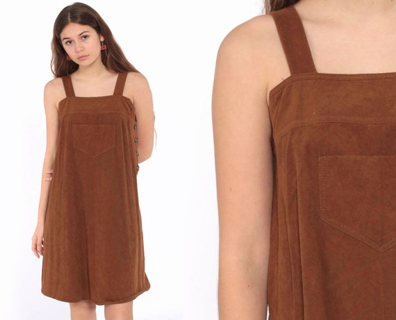 70s Jumper Dress Brown Mini Pinafore Women Overall Dress Faux Suede Boho Hippie 1970s Vintage Retro Tent Trapeze Bohemian Extra Small xs