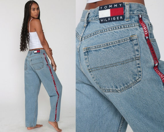 Tommy Hilfiger Jeans 90s Tommy Jeans Boyfriend Jeans Relaxed Denim Pants High Waist Jeans Baggy Jeans 1990s Light Blue Medium 30