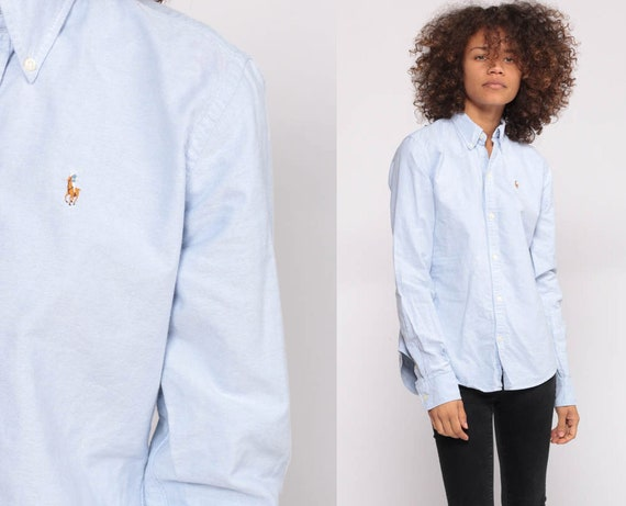 Ralph Lauren Shirt Button Up 90s Grunge Shirt POLO Cotton OXFORD Light Blue 1990s Long Sleeve Vintage Extra Small xs