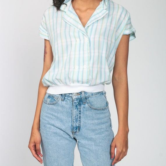 Pastel RAINBOW Blouse 80s Button Up Shirt Striped… - image 6