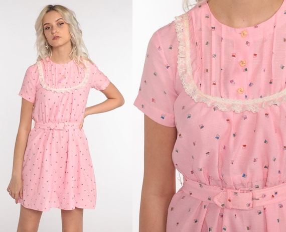 Pink Bib Dress 70s Dress Lace Abstract Butterfly Print Boho Sleeveless Mini Belted 1970s Bohemian High Waist Vintage Hippie Extra Small xs