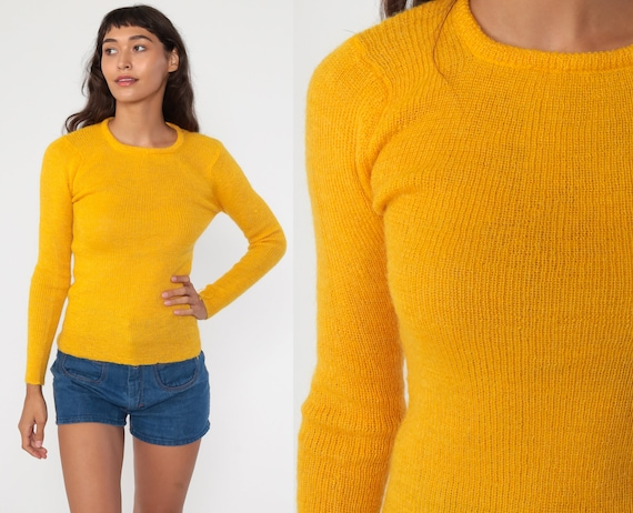Wool Blend Sweater 70s 1970s Plain Yellow Sweater Vintage SImple Tight Mohair Extra Small xs s