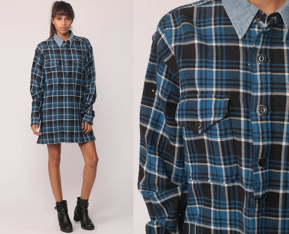 Ralph Lauren Shirt Plaid Shirt Dress 90s Grunge Navy Blue CHAMBRAY COLLAR Oversize Long Sleeve 80s Button Up Vintage Tartan Medium