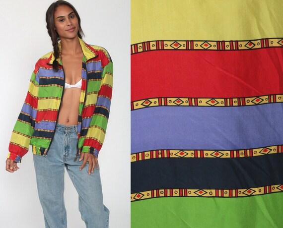 90s Windbreaker Jacket SILK Striped Jacket Tribal Print 80s Coat Slouchy Track Jacket Oversized Hipster Vintage 1980s Women Retro Medium