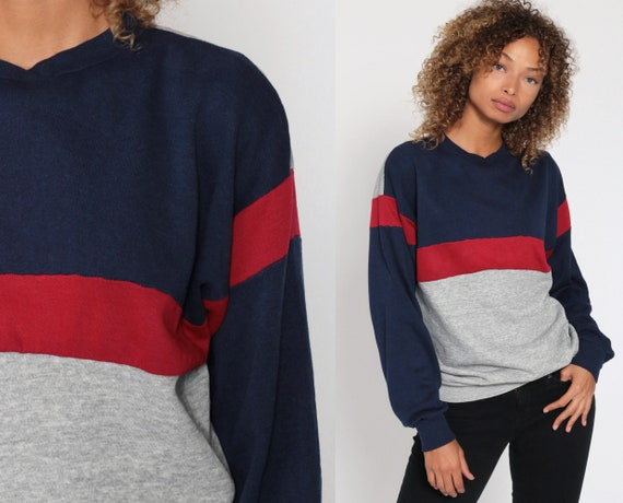 Grey Striped Sweatshirt -- 80s Sweater Retro Sweatshirt Navy Blue Red Slouchy Pullover Vintage 1980s Small Medium