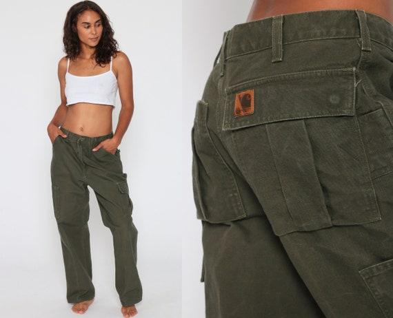 Carhartt Pants 34 -- Green Workwear Work Pants Army Jeans 90s Olive Green Baggy Cargo Work Pants Wide Leg Denim Pants Vintage Large