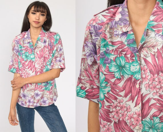 Tropical Floral Shirt Pink Purple Hawaiian Blouse Button Up 80s Vintage Surfer Vacation Short Sleeve Leaf Print Retro Top 90s Small S