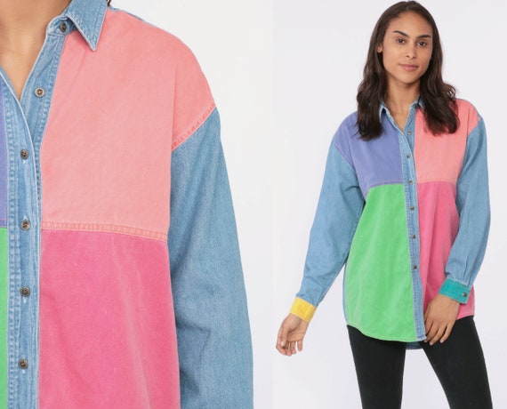 Color Block Jean Shirt 90s Long Sleeve Shirt Denim Top Pink Button Down Button Up Shirt Grunge 1990s Vintage Streetwear Medium Large