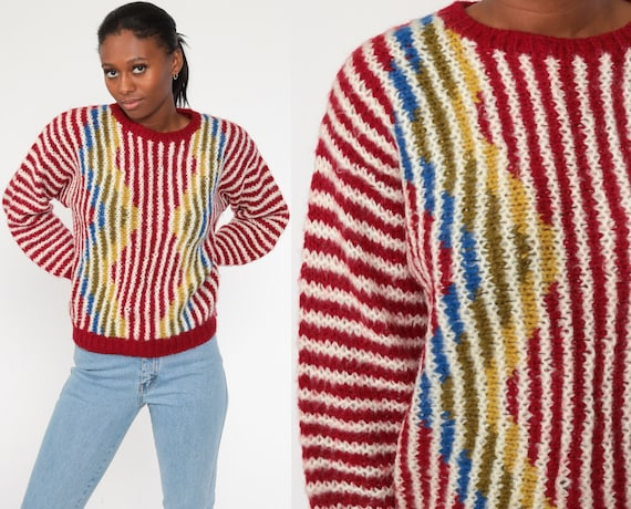 Primary Color Sweater Striped Sweater 80s Knit Sweater Red Yellow Striped Slouch 1980s Jumper Vintage Pullover Retro Small