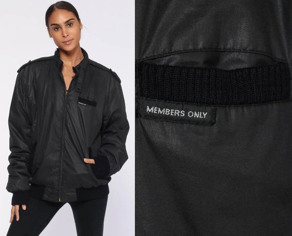 Members Only Jacket 40 -- 80s Black Bomber Windbreaker Cafe Racer Moto Hipster Epaulette Coat Vintage 1980s Medium Large