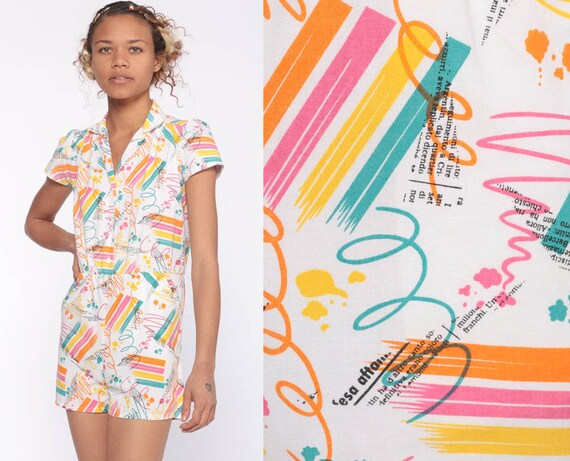 80s Romper One Piece Rainbow Onesie Scribble Brushstroke Print High Waist 1980s Vintage Playsuit Shorts Puff Petite Extra Small xs xxs