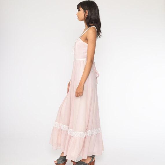 Gunne Sax Dress 70s Maxi PRAIRIE Baby Pink Butter… - image 5