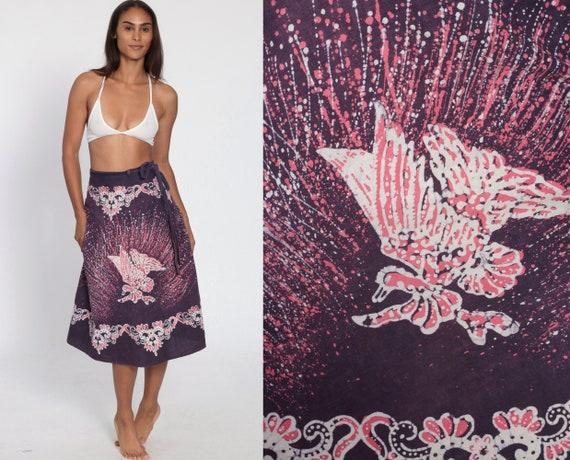 Wrap Skirt Hippie Indian Bird Print Midi Ethnic Boho Cotton Bohemian Batik High Waist Vintage Purple Pink Festival Extra Small Medium XS