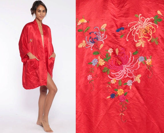 Satin Kimono Robe 90s Dressing Gown Red Chinese Asian Floral Embroidered Bohemian Wrap Open Front Vintage Boho Hippie Small Medium Large