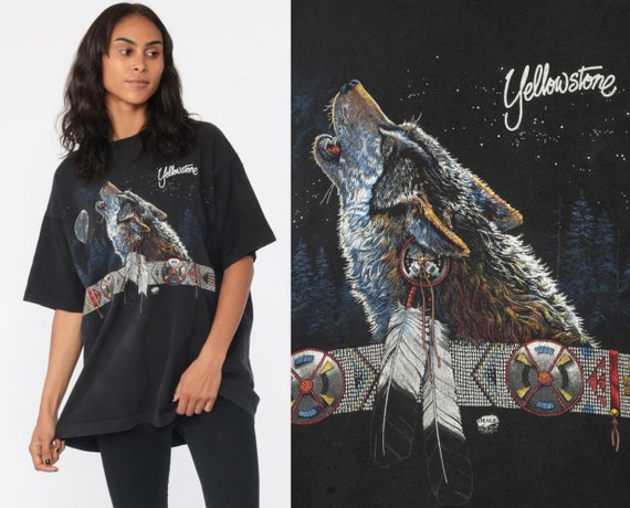 Yellowstone Wolf Shirt 90s WOLF Moon Natural Park California Tee Native American Wildlife Animal Shirt Black Screen Print Extra Large xl
