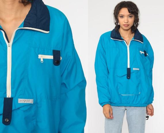 80s Jansport Jacket Half Zip Pullover Windbreaker Blue Jacket Vintage 1980s Retro Plain Windbreaker 90s Medium Large
