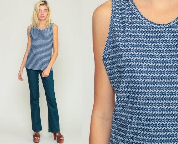 70s Tank Top Floral Shirt Mod Hippie Blouse Boho Shirt Blue Summer Sleeveless Vintage Bohemian 1970s Medium Large