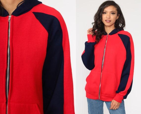 Hoodie Sweatshirt Red Zip Up Sweatshirt 80s Hooded Track Jacket Retro STRIPED Navy Blue Hood 1980s Vintage 70s Medium Large