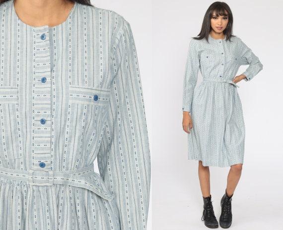 Striped Shirt Dress 80s Button Up Midi Blue Secretary Shirtdress High Waist 1980s Vintage Long Sleeve Dress Kay Windsor Medium