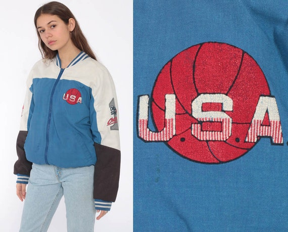 Basketball Bomber Jacket 80s USA Dunkers Jacket Coat Moto Jacket Vintage 1980s Sports Cotton Bomber Extra Small xs