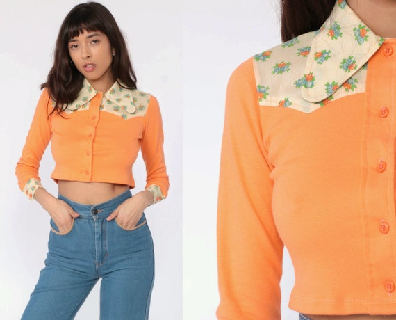 Floral Crop Top Western Shirt 70s Blouse Orange Cowboy Shirt Button Up 1970s Vintage Long Sleeve Blouse Extra Small xs