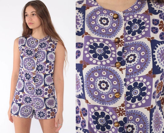 60s Romper Playsuit Purple Vintage 1960s Mod Outfit Onesie Twiggy Play Suit Gogo Hippie Geometric Scooter Sleeveless Shorts Extra Small xs