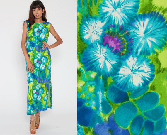Hawaiian Dress Summer Hippie Maxi Floral Print 70s Sundress Barkcloth Tropical Bohemian Sheath 1970s Vintage Sleeveless Green Small Medium