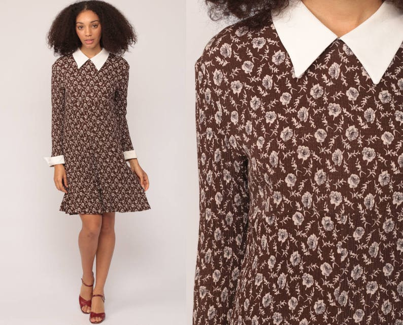 a36fc055a367d 90s Floral Dress PETER PAN Collar 90s Does 60s Mod GRUNGE Mini