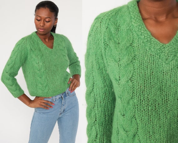 Cable Knit Sweater WOOL Mohair Sweater 70s Slouchy Green Sweater Knit Hipster Boho Pullover Cableknit 1970s Jumper Vintage Small Medium