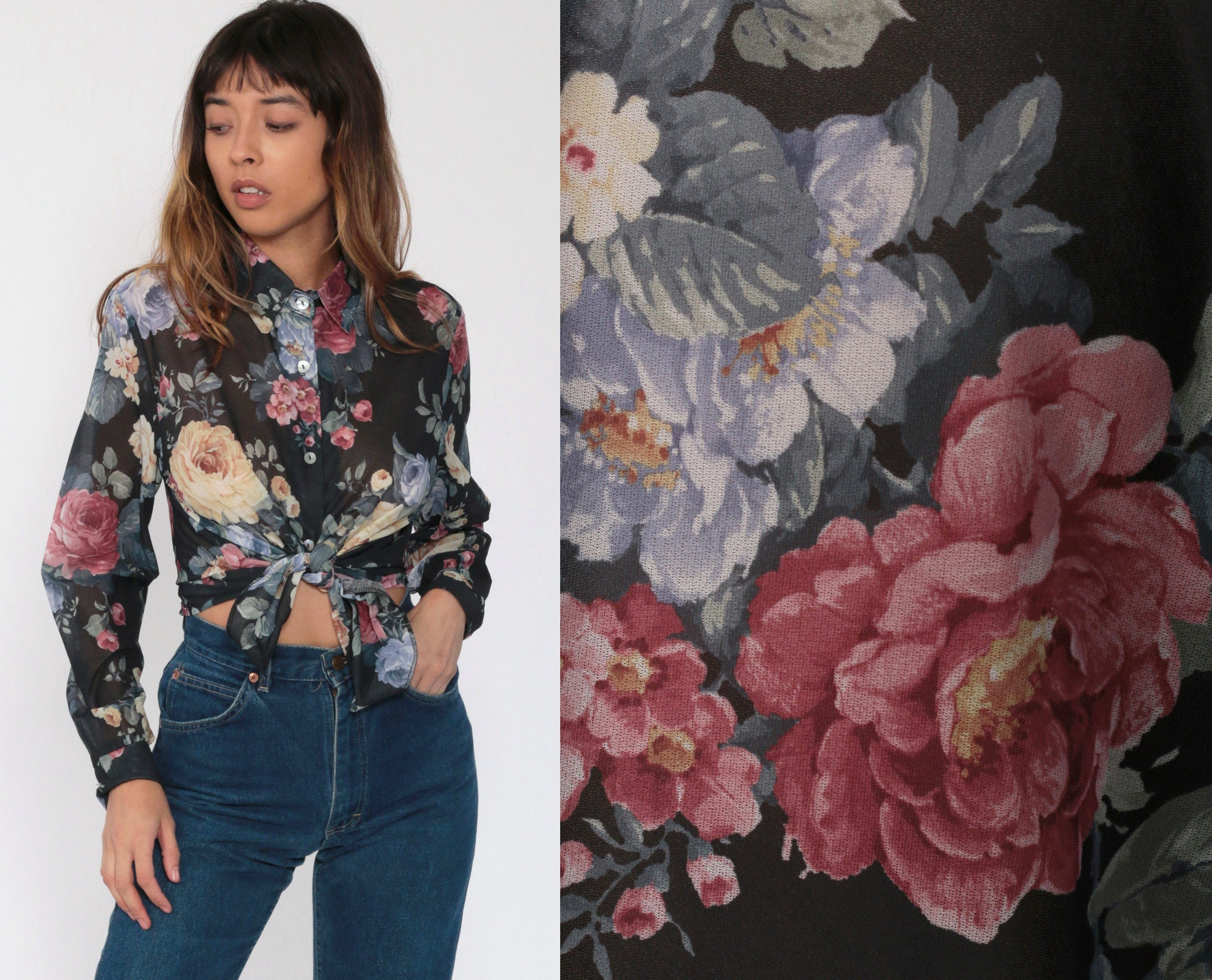 90s Sheer Rose Print Blouse 2X 1990s Long Sleeve Button Down