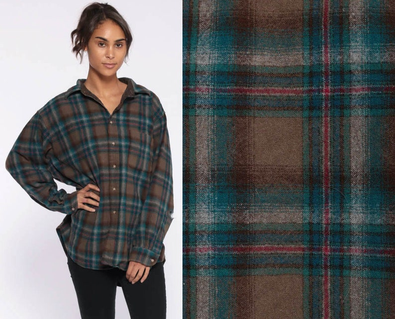 8ce9acd73 Distressed Flannel Shirt Wool Pendleton Plaid Shirt 90s Grunge | Etsy