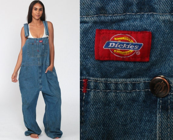 Dickies Overalls 48 -- 90s Denim Bib Overalls Baggy Dungarees Long Jean Pants Utility Pants Work Wear Carpenter 1990s Extra Large xl