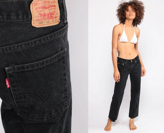 Black Mom Jeans Levis Jeans Straight Leg Jeans 90s Jeans Levi Denim Pants Levi 550 Jeans Relaxed Vintage Hipster Extra Small xs 00 24