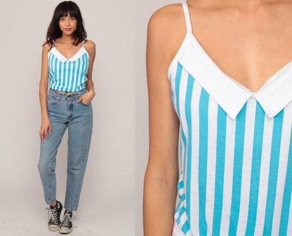 80s Tank Top Striped Shirt Retro Summer Top Bohemian Spaghetti Strap 1980s Hipster Retro Vintage Boho Slouchy Blue White Medium