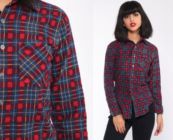 Blue Red Flannel Shirt Blue Plaid Shirt 90s Lumberjack Shirt Grunge Red Blue Oversize Long Sleeve Button Up Vintage Retro Extra Small xs xxs
