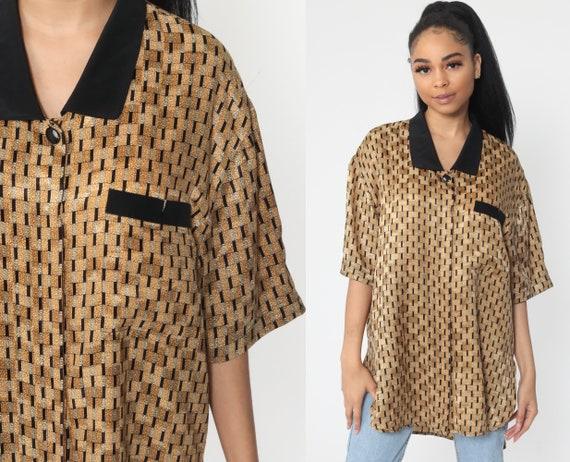 Gold Checkered Shirt Geometric Shirt 90s Top 1990s Short Sleeve Button Up Boho Retro Medium Large