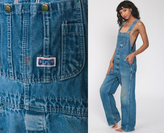 Big Smith Jean Overalls 90s Denim GRUNGE Pants Coveralls Work Wear Baggy 1990s Dungarees Bib Boyfriend Vintage Carpenter Small Medium