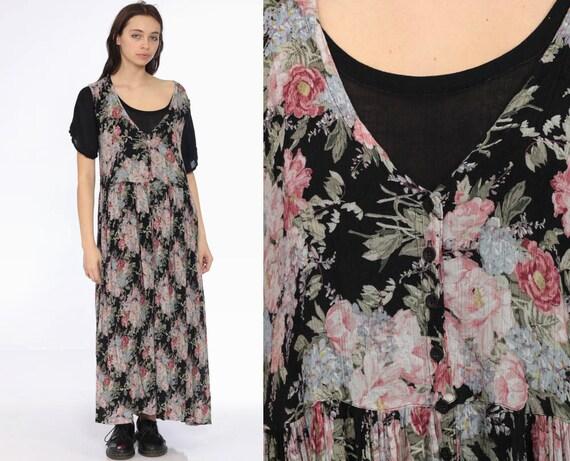 90s Grunge Floral Dress -- 1990s Maxi Trapeze Semi Sheer Gauze Drape Short Sleeve Black Button Up Romantic Button Up Dress Medium Large