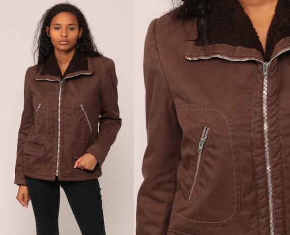 Brown Jacket 70s Jacket Retro Plain Zip Up FUZZY LINING Sherpa Jacket Shearling Jacket Hipster Collar Vintage 1970s Retro Small Medium