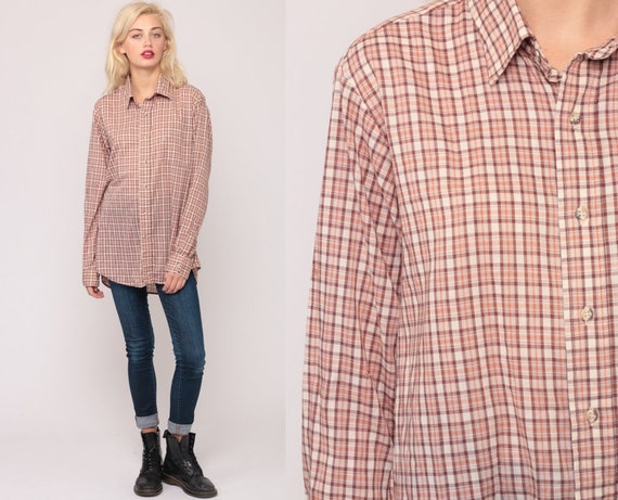 Plaid Shirt LEVIS Shirt 80s Cotton Levi Shirt Brown Orange Hipster Button Down up Vintage Hipster Checkered Long Sleeve Extra Large xl