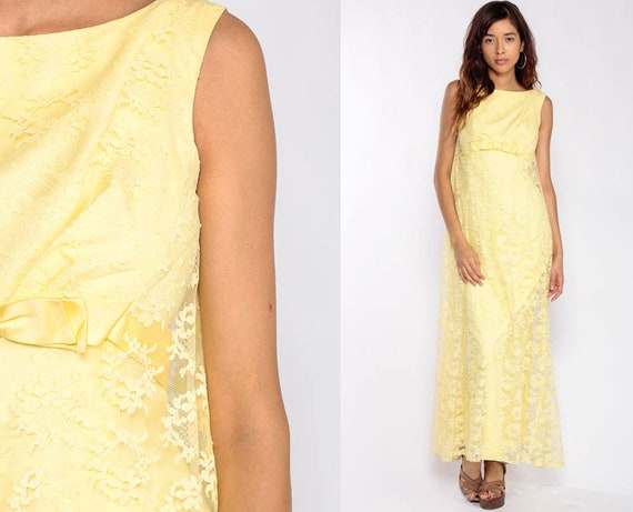 Lace Maxi Dress Cocktail Dress 60s Party BOW Prom Dress Yellow Sleeveless Empire Waist 1960s Mod Sixties Vintage Formal Mad Men Extra Small