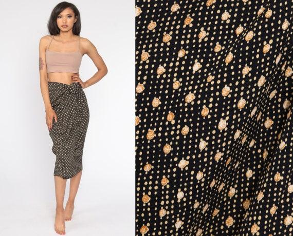 Polka Dot Wrap Skirt Midi Wrap Skirt 90s Grunge Boho Black Gold Skirt 1990s Festival Bohemian Small Medium