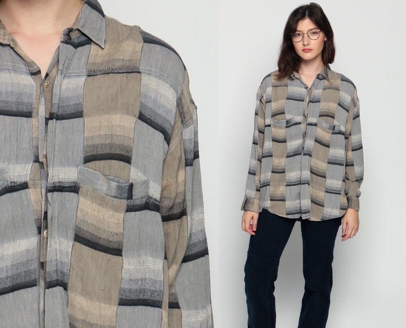 45826559fb1 Grey Plaid Shirt 80s Oversized Grunge Flannel Button Down Tan