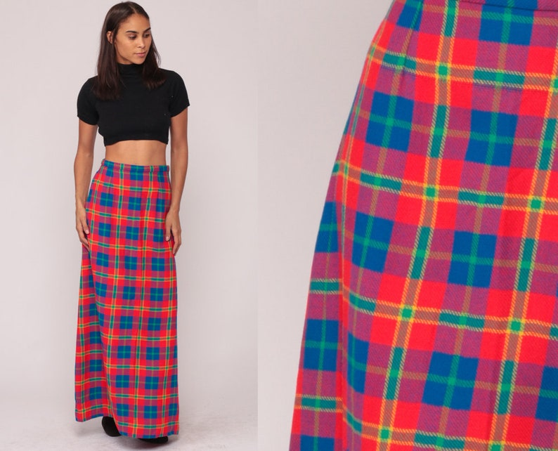 8ee4975d36 Plaid Maxi Skirt WOOL 70s Tartan School Girl Boho 1970s High | Etsy