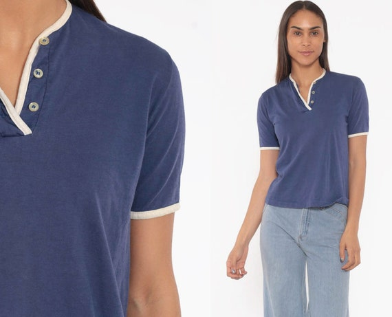70s Jantzen Shirt Blue Half Button Up Top 1970s Plain Blouse Ringer Tee Vintage Collarless Short Sleeve Shirt Medium