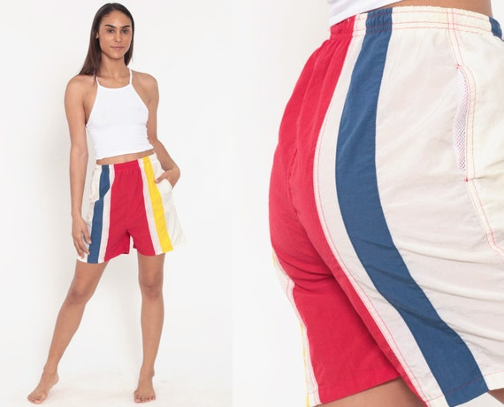 90s Beach Shorts 80s STRIPED Shorts High Waisted Shorts White Blue Retro Color Block Yellow Red Summer Beach Vacation Pockets Extra Small xs